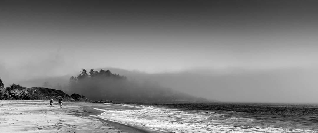 Nebel zieht langsam über einen Strand in Tofino