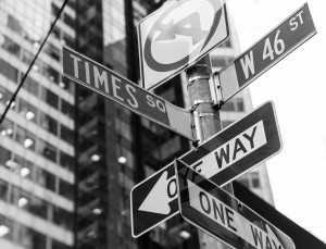 Times Square signs & W 46 st New York