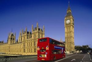 Doppeldecker Bus vor dem Big Ben