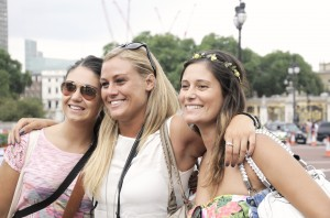Group of young girls smiling, London