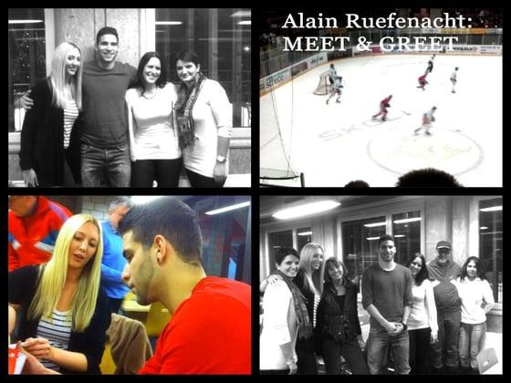 Alain Rüfenacht (EHC Winterthur) beim Meet&Greet mit den glücklichen Gewinnern des Linguista-Wettbewerbs.